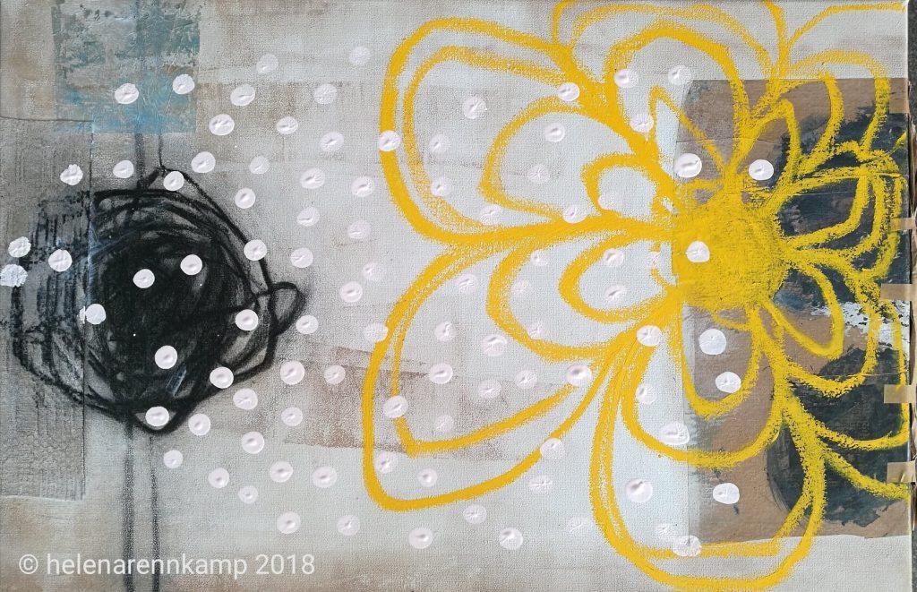 buttercup talk // garden // 2018 // Acryl & Mixed Meia auf Leinwand // 40 x 60