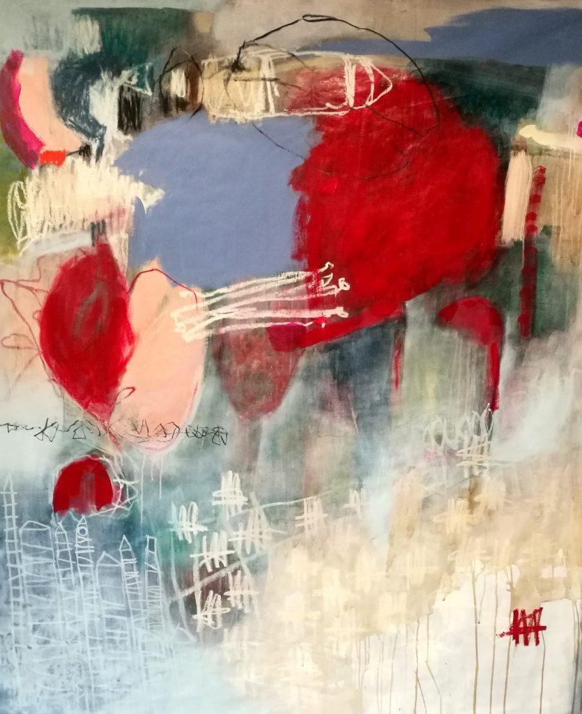 first kiss // letters to universe // 2017 // Öl & Acryl auf Leinwand // 160 x 180