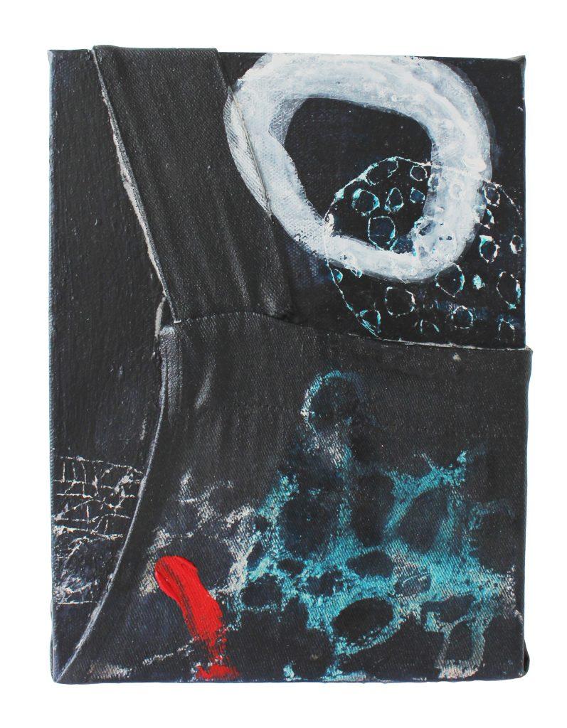 memory box 5 o.T. // sense memory // 2019 // Baumwolle & Öl & Acryl auf Holzkörper // 18 x 24