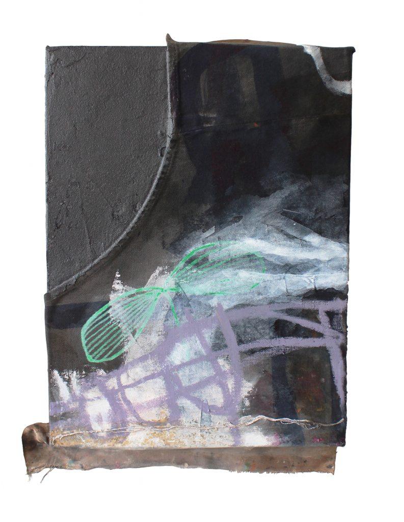 memory box 4 // sleepless // sense memory // 2019 // Baumwolle & Grafit & Öl & Acryl auf Holzkörper // 18 x 24