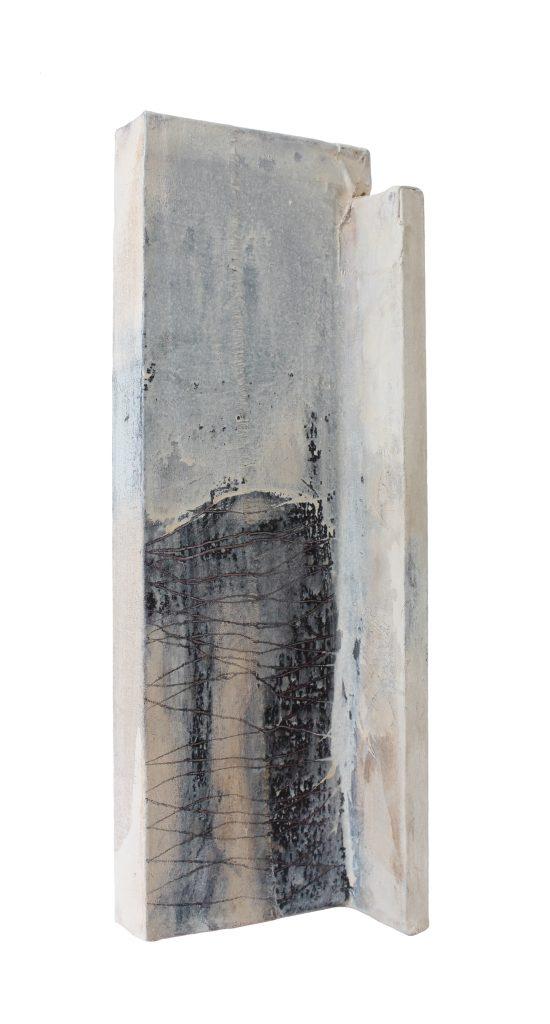 borderline missing things // sense memory // 2018 // Leinen & Öl & Tusche auf Holz // 13 x 32